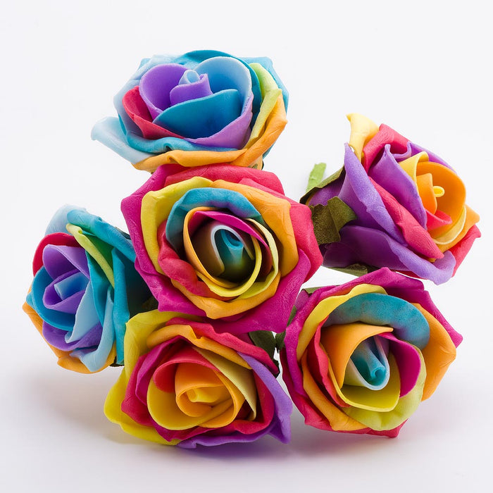 Rainbow 5cm Foam Roses - Bunch of 6 Stems - Colourfast Flowers