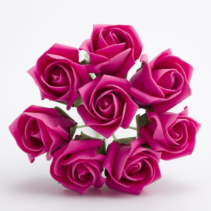Hot Pink 3cm Small Foam Roses - Bunch of 8 Stems - Colourfast Flowers
