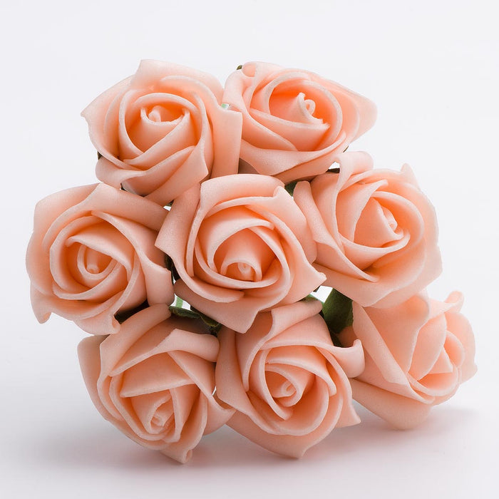 Vintage Peach 3cm Small Foam Roses - Bunch of 8 Stems - Colourfast Flowers