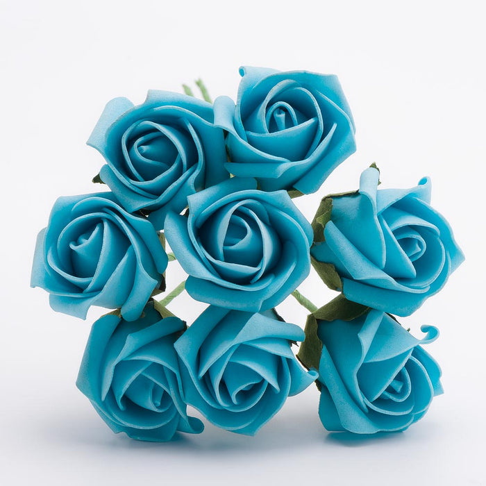 Turquoise 3cm Small Foam Roses - Bunch of 8 Stems - Colourfast Flowers