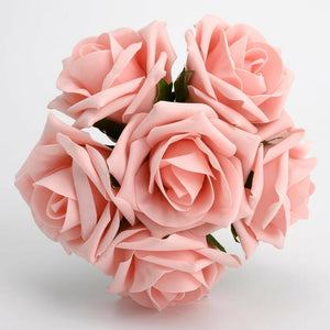 Vintage Pink 5cm Foam Roses - Bunch of 6 Stems - Colourfast Flowers