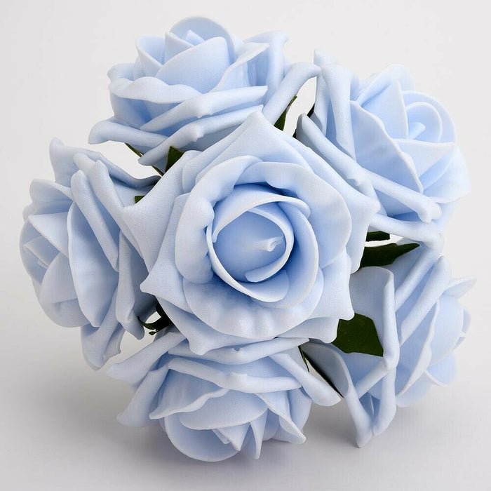 Baby Blue 5cm Foam Roses - Bunch of 6 Stems - Colourfast Flowers