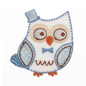 Blue Owl Motif Iron Sew On Embroidered Applique - CFM1/029X - Button Blue Crafts