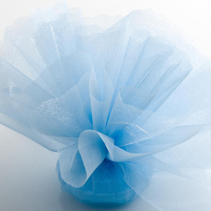 Pale Blue Organza Tulle Bomboniere Wedding Favour Nets - 50 Pack