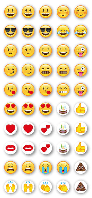 Emoji Puffy Craft Stickers - 10mm x 50 Pack - Button Blue Crafts