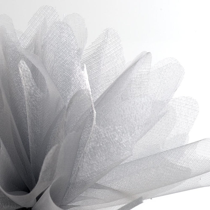 Silver Organza Tulle Bomboniere Wedding Favour Nets - 50 Pack