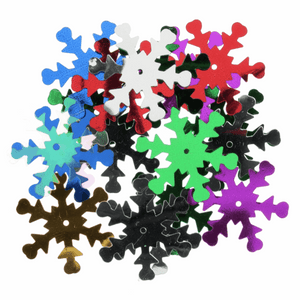 Multi Colour Snowflake Sequins - 18 Pack - Christmas Card Making, Christmas Crafts, Christmas Gifts