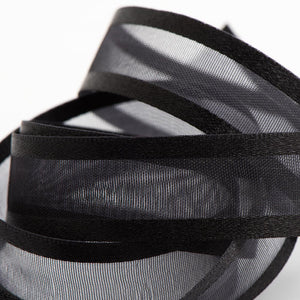 Black - Satin Edge Organza - Sheer Ribbon - 4 Widths - Button Blue Crafts