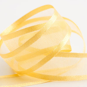 Gold - Satin Edge Organza - Sheer Ribbon - 4 Widths - Button Blue Crafts