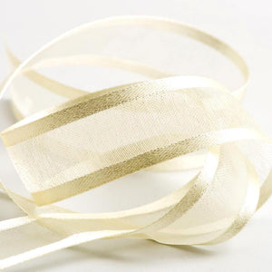 Ivory - Satin Edge Organza - Sheer Ribbon - 4 Widths - Button Blue Crafts