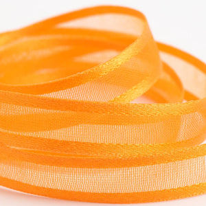 Orange - Satin Edge Organza - Sheer Ribbon - 4 Widths - Button Blue Crafts