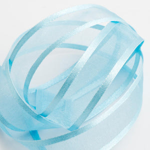 Pale Blue - Satin Edge Organza - Sheer Ribbon - 4 Widths - Button Blue Crafts