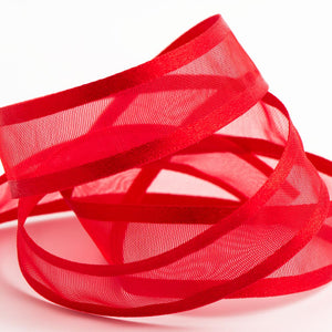 Red - Satin Edge Organza - Sheer Ribbon - 4 Widths