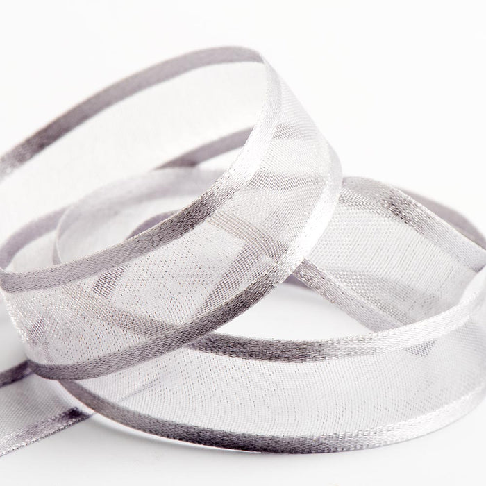 Silver - Satin Edge Organza - Sheer Ribbon - 4 Widths