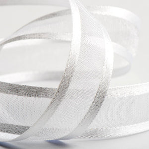 White - Satin Edge Organza - Sheer Ribbon - 4 Widths - Button Blue Crafts