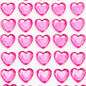 Cerise Pink Diamante Hearts - 10mm x 50 Pack Rhinestone Craft Stickers - Button Blue Crafts