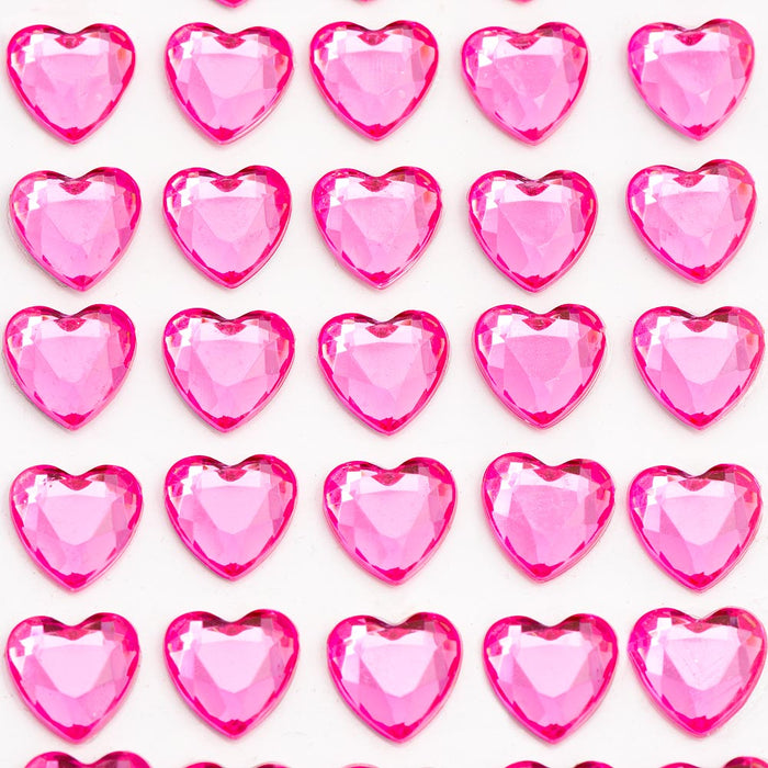 Cerise Pink Diamante Hearts - 10mm x 50 Pack Rhinestone Craft Stickers