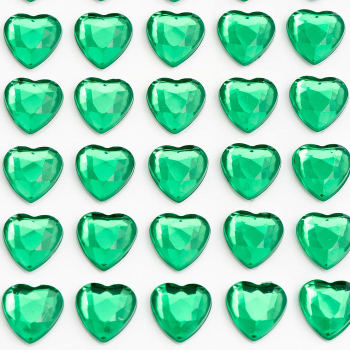 Emerald Green Diamante Hearts - 10mm x 50 Pack Rhinestone Craft Stickers