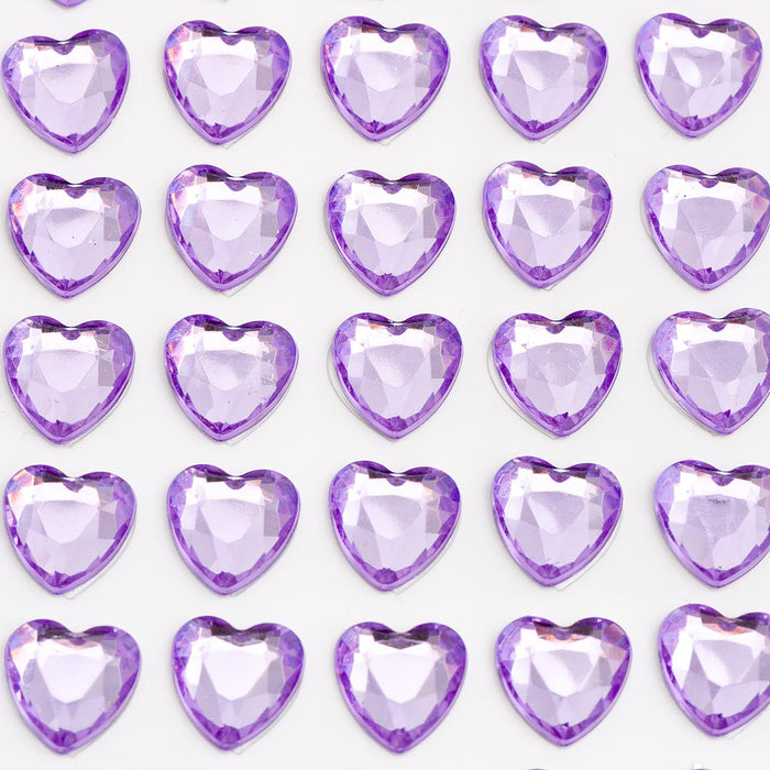Lilac Diamante Hearts - 10mm x 50 Pack Rhinestone Craft Stickers