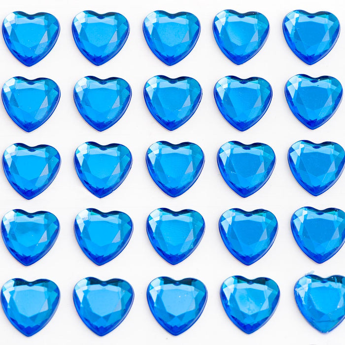 Royal Blue Diamante Hearts - 10mm x 50 Pack Rhinestone Craft Stickers