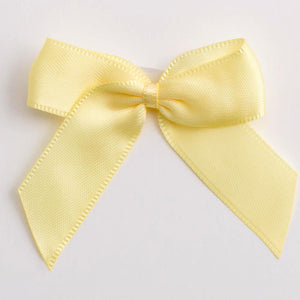 Lemon Yellow - Self Adhesive Pre Tied Bows - 5cm x 16mm Satin Ribbon - Button Blue Crafts