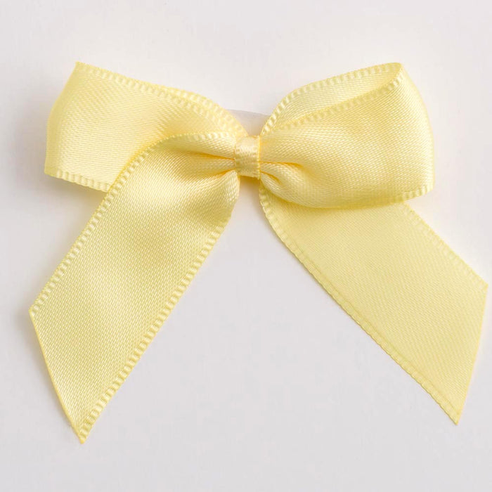 Lemon Yellow - Self Adhesive Pre Tied Bows - 5cm x 16mm Satin Ribbon