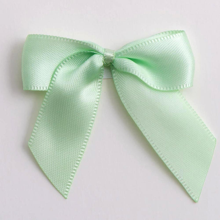 Light Green - Self Adhesive Pre Tied Bows - 5cm x 16mm Satin Ribbon