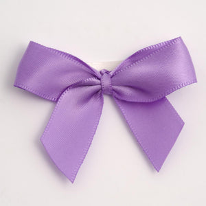 Lilac - Self Adhesive Pre Tied Bows - 5cm x 16mm Satin Ribbon - Button Blue Crafts