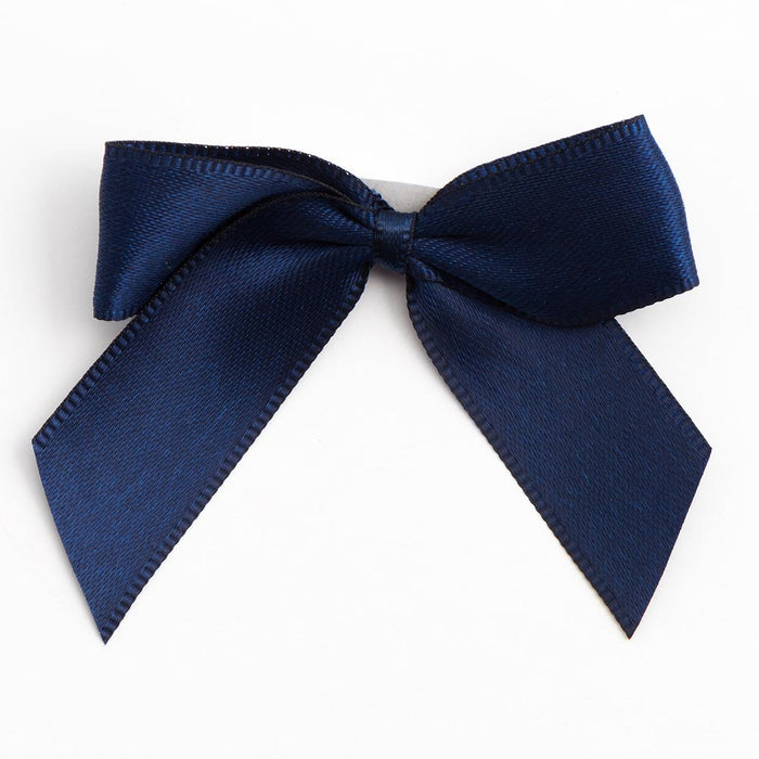 Navy Blue - Self Adhesive Pre Tied Bows - 5cm x 16mm Satin Ribbon