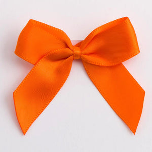 Orange - Self Adhesive Pre Tied Bows - 5cm x 16mm Satin Ribbon - Button Blue Crafts