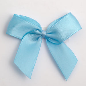 Pale Blue - Self Adhesive Pre Tied Bows - 5cm x 16mm Satin Ribbon - Button Blue Crafts