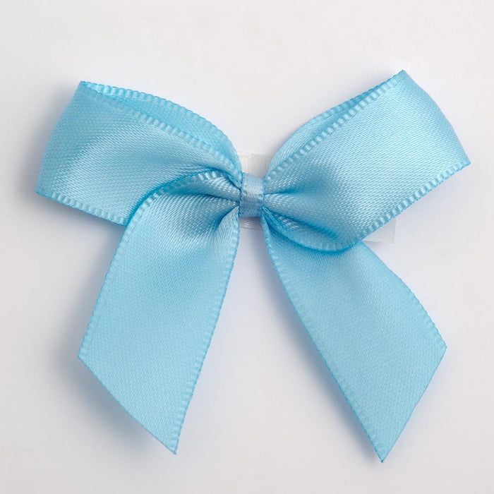 Pale Blue - Self Adhesive Pre Tied Bows - 5cm x 16mm Satin Ribbon