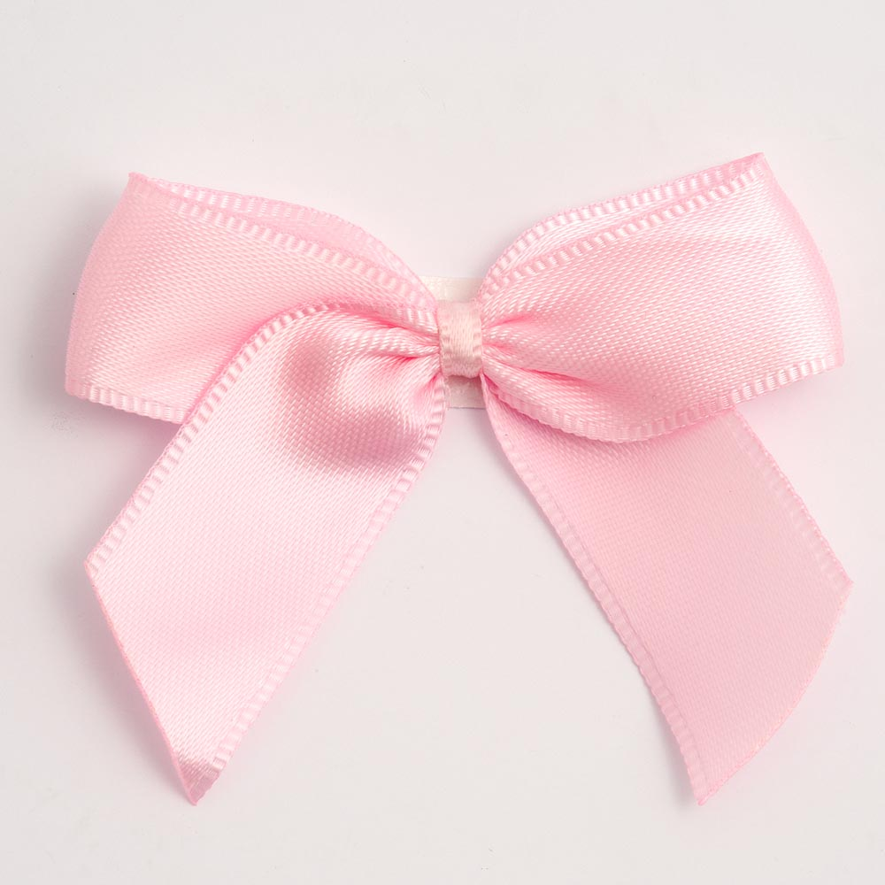 Pale Pink - Self Adhesive Pre Tied Bows - 5cm x 16mm Satin Ribbon - Button Blue Crafts