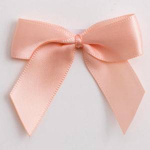Peach - Self Adhesive Pre Tied Bows - 5cm x 16mm Satin Ribbon - Button Blue Crafts