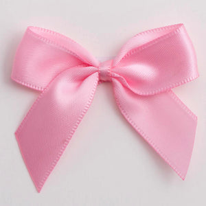 Pink - Self Adhesive Pre Tied Bows - 5cm x 16mm Satin Ribbon - Button Blue Crafts