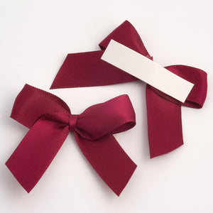 Burgundy - Self Adhesive Pre Tied Bows - 5cm x 16mm Satin Ribbon - Button Blue Crafts