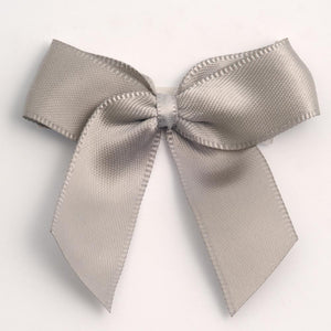 Silver - Self Adhesive Pre Tied Bows - 5cm x 16mm Satin Ribbon - Button Blue Crafts