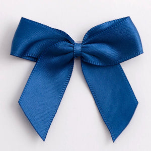 Smoke Blue - Self Adhesive Pre Tied Bows - 5cm x 16mm Satin Ribbon - Button Blue Crafts