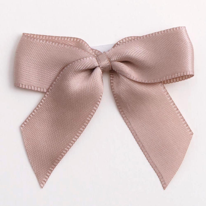 Taupe - Self Adhesive Pre Tied Bows - 5cm x 16mm Satin Ribbon
