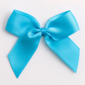 Turquoise - Self Adhesive Pre Tied Bows - 5cm x 16mm Satin Ribbon