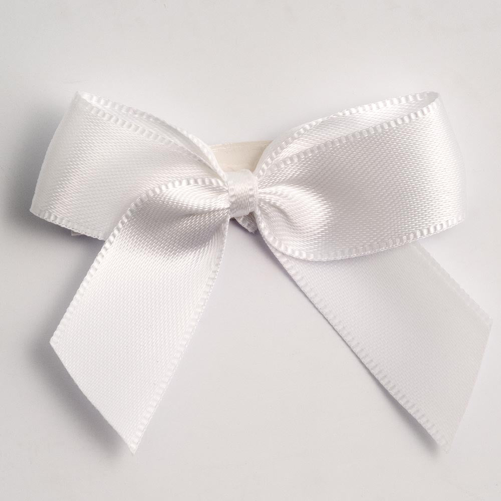 White - Self Adhesive Pre Tied Bows - 5cm x 16mm Satin Ribbon - Button Blue Crafts