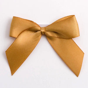 Antique Gold - Self Adhesive Pre Tied Bows - 5cm x 16mm Satin Ribbon - Button Blue Crafts