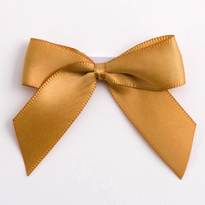Antique Gold - Self Adhesive Pre Tied Bows - 5cm x 16mm Satin Ribbon
