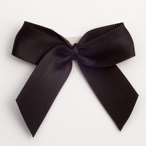 Black - Self Adhesive Pre Tied Bows - 5cm x 16mm Satin Ribbon - Button Blue Crafts