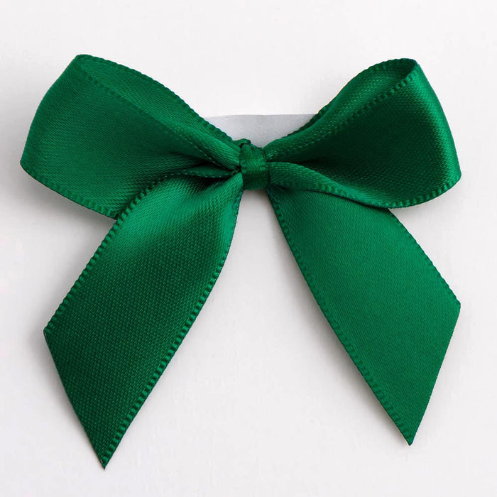 Bottle Green - Self Adhesive Pre Tied Bows - 5cm x 16mm Satin Ribbon