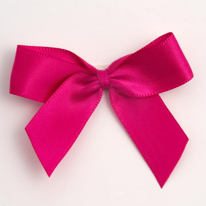 Cerise Pink - Self Adhesive Pre Tied Bows - 5cm x 16mm Satin Ribbon