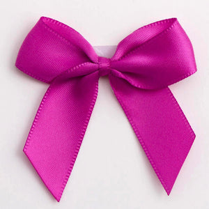 Clover Pink - Self Adhesive Pre Tied Bows - 5cm x 16mm Satin Ribbon - Button Blue Crafts
