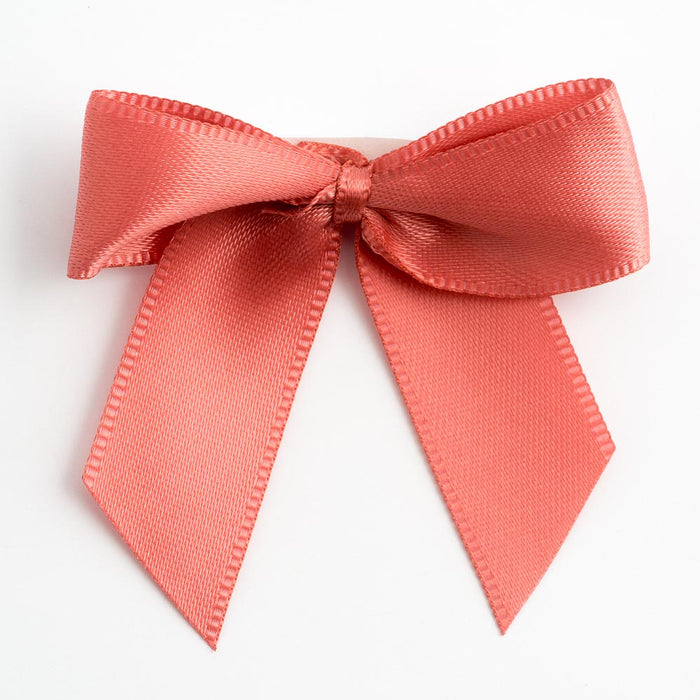 Coral - Self Adhesive Pre Tied Bows - 5cm x 16mm Satin Ribbon
