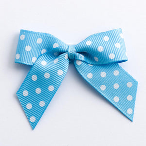 Pale Blue - Self Adhesive Pre Tied Polka Dot Bows - 5cm x 16mm Grosgrain Ribbon - Button Blue Crafts