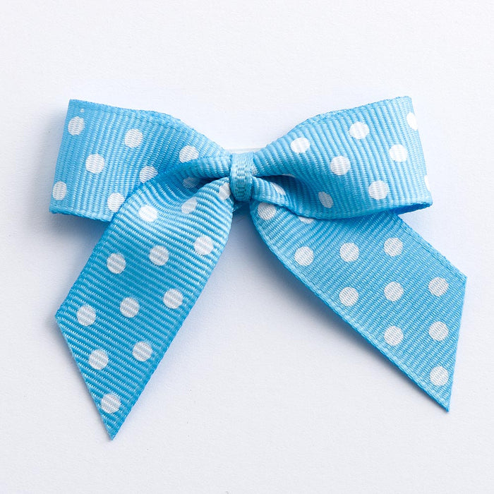 Pale Blue - Self Adhesive Pre Tied Polka Dot Bows - 5cm x 16mm Grosgrain Ribbon